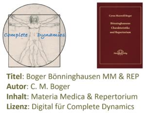Zusatzlizenz MM & REP: Materia Medica & Repertorium – C. M. Boger- BBCR