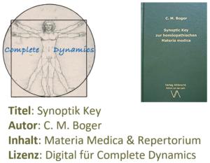 Zusatzlizenz MM & REP: Materia Medica & Repertorium – C. M. Boger- Synoptik Key