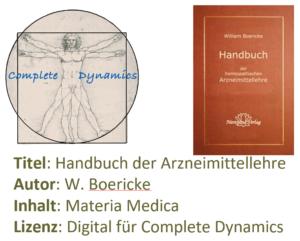Zusatzlizenz MM: Materia Medica – W. Boericke – Handbuch der hom. Arzneimittellehre